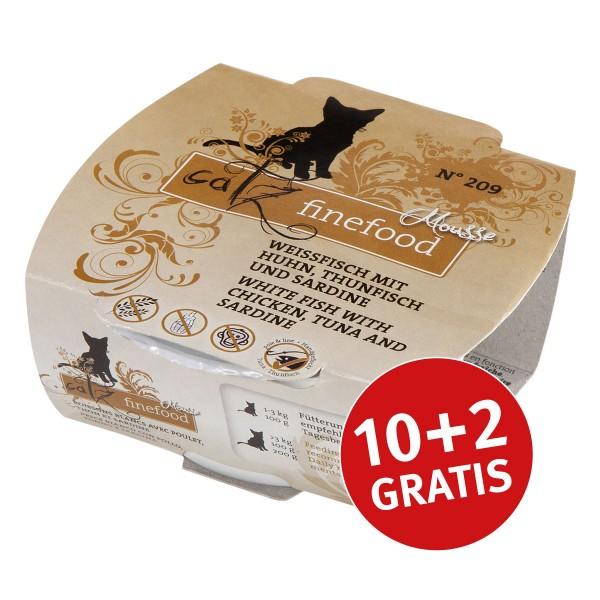 Catz finefood Mousse N°209 Weissfisch mit Huhn, Thunfisch und Sardine 100g 10+2 gratis