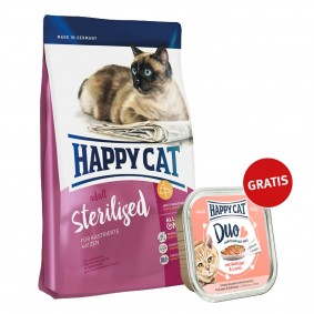 Happy Cat Supreme Adult Sterilised 300g plus Paté Geflügel & Lachs 100g