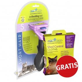 FURminator deShedding Tool für Katzen mit Kurzhaar + FURminator Feuchttücher gratis