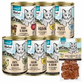 ZooRoyal Minkas Naturkost Mixpaket 12x400g + Mini Sticks Huhn & Thunfisch 50g gratis