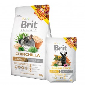 Probierpaket Brit Animals Chinchilla Complete 300g + Immune Stick 80g