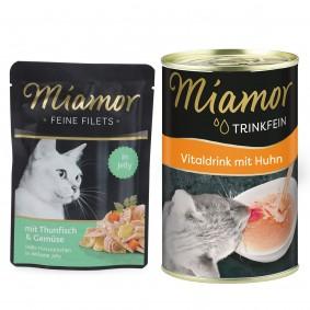 Miamor Feine Filets Thunfisch und Gemüse 24x100g + Trinkfein 135ml GRATIS!