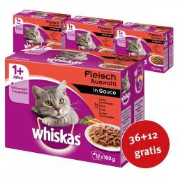 Whiskas Adult 1+ Fleischauswahl in Sauce 48x100g