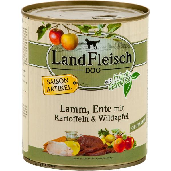 Landfleisch Dog Pur Lamm und Ente mit Kartoffel und Wildapfel 800g