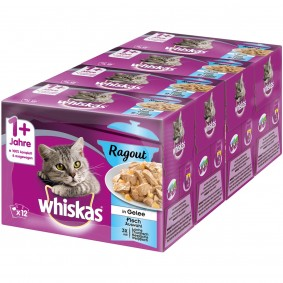 Whiskas Adult 1+ Ragout Fischauswahl in Gelee 48x85g