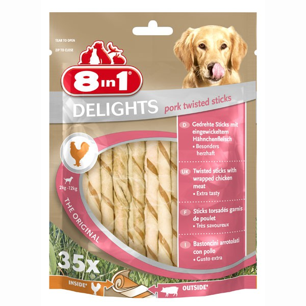 8in1 Hundesnack Delights Pork Twisted Sticks - ...