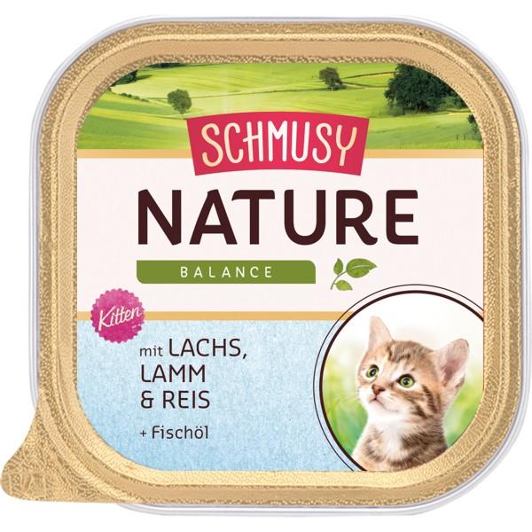 Schmusy Nature Kitten - Lachs, Lamm, Reis & Lachsöl 16x100g