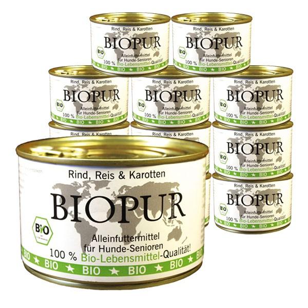 BIOPUR Hundefutter Bio Senior Rind, Reis, Karotten 12x400g