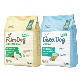 Green Petfood FarmDog Active 900g + InsectDog Sensitive 900g gratis