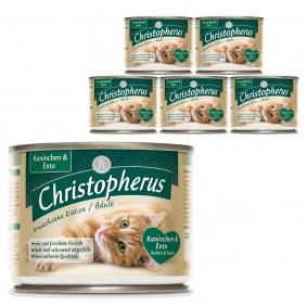 Christopherus Fleischmahlzeiten Katzenfutter Kaninchen und Ente 6x200g