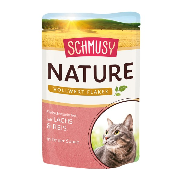 Schmusy Nature Vollwert-Flakes Lachs & Reis 22x100g