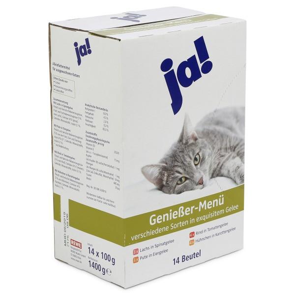 ja! Katzenfutter verschiedene Sorten in exquisitem Gelée 14x100g