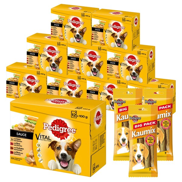 Pedigree Hundefutter Vital Protection 120x100g + 3x Kaumix Big Pack