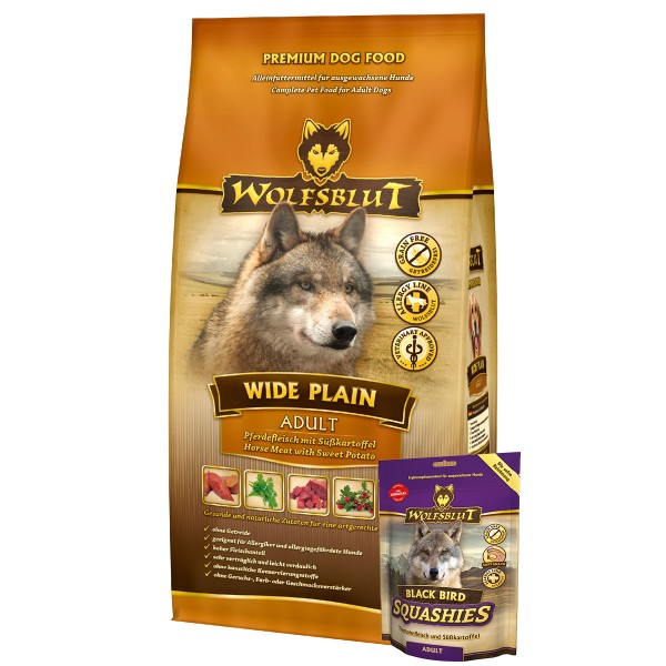 Wolfsblut Wide Plain 15kg + Wolfsblut Squashies Black Bird 300g gratis