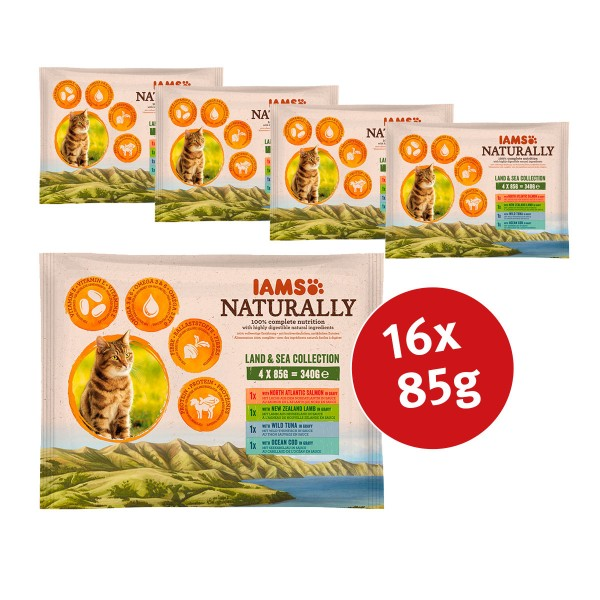 IAMS Naturally Adult Land & See Collection 16x85g