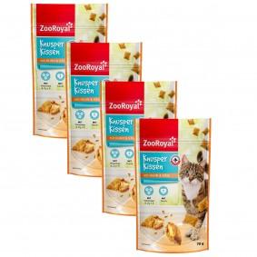 ZooRoyal Katzensnack Knusperkissen mit Huhn und Käse 4x70g