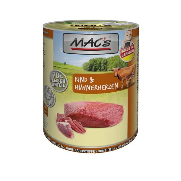 MAC's Cat Futter Fleischmenü Rind & Hühnerherzen