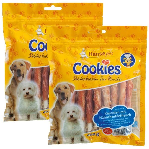 Hansepet Hundesnack Cookies Delikatess-Hähnchenfilet auf Kaurolle 2x200g