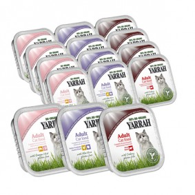 Yarrah Katzenfutter Bio Mix-Set Rind, Huhn/Truthahn und Lachs 96x100g