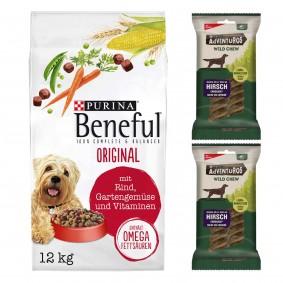 Beneful Original 12kg + 2 x Wild Chew für mittelgroße Hunde gratis