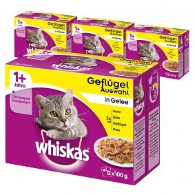 Whiskas Adult 1+ Geflügelauswahl in Gelee 36+12 Gratis (48x100g)