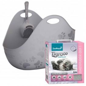 LitterLocker®Katzentoilette LitterBox grau+ZooRoyal Tigrooo Ultraklumpstreu Babypuderduft 6kg GRATIS
