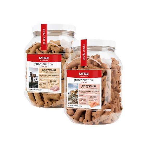 MERA pure sensitive goody snacks Mixpaket Truthahn & Reis / Lachs & Reis 2x600g