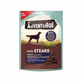 Purina AdVENTuROS Hundeleckerlis Mini Steaks mit Hirsch