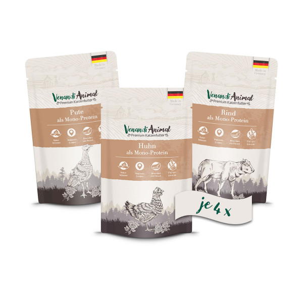 Venandi Animal - Probierpaket I Huhn, Pute, Rind