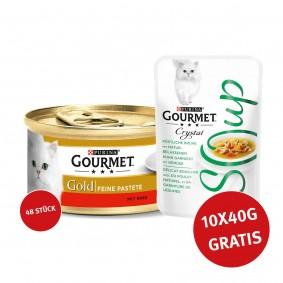 Gourmet Gold Feine Pastete Rind 48x85g + Crystal Soup mit Huhn und Gemüse 10x40g GRATIS!