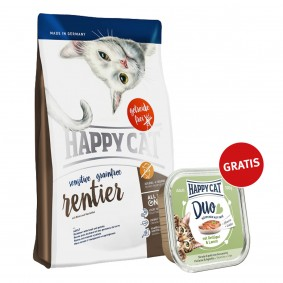 Happy Cat Sensitive Grainfree Rentier 300g plus Paté Geflügel & Lamm 100g