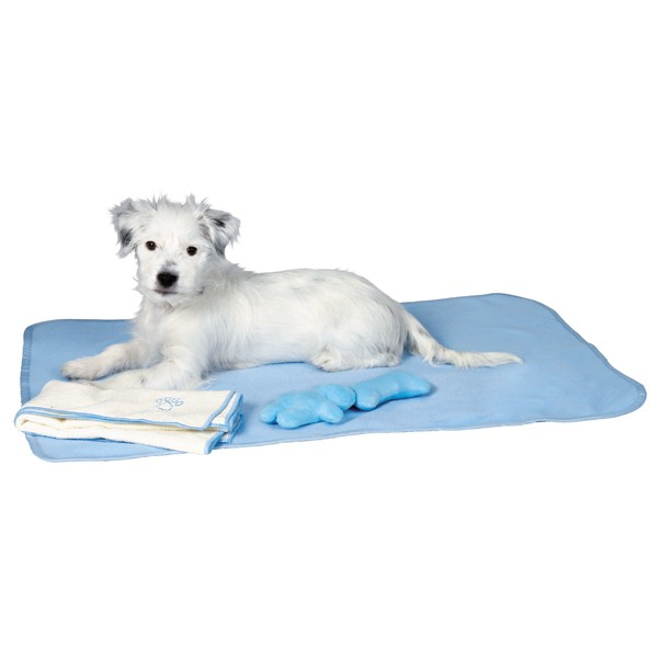 Trixie Welpen-Set - Decke, Spielzeug & Handtuch hellblau