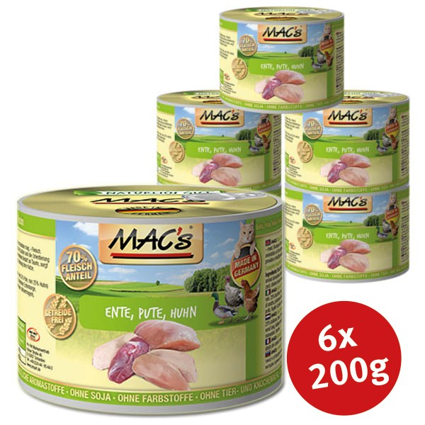 MAC's Cat Katzenfutter Fleischmenü Ente, Pute, Huhn