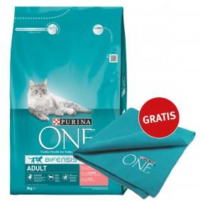 Purina One Katzenfutter Adult reich an Lachs 3kg plus Decke gratis