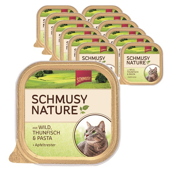 Schmusy Nature Wild, Thunfisch, Pasta & Apfeltrester 16x100g