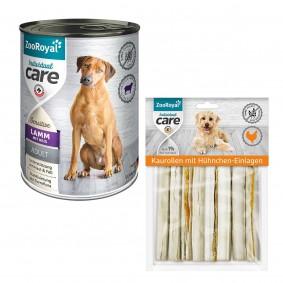 ZooRoyal Individual care Sensitive Lamm+Reis 12x400g + Kaurollen Hühnchen-Einlage 200g