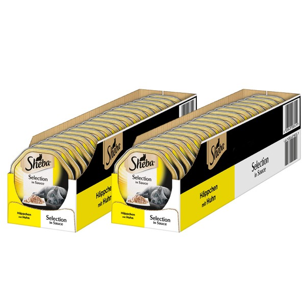 Sheba Katzenfutter Selection in Sauce Häppchen mit Huhn 36+8 x85g gratis