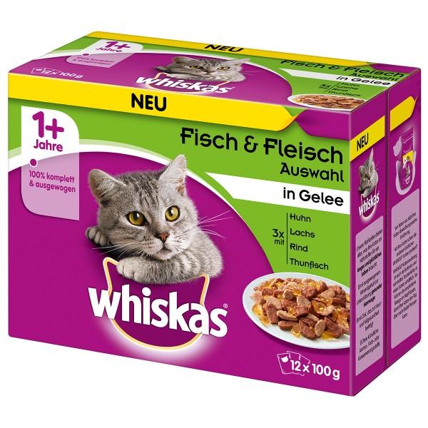 Whiskas Adult 1+ Fisch & Fleischauswahl in Gelee 12x100g