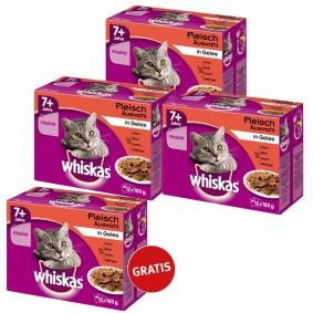 Whiskas 7+ Fleischauswahl in Gelee 12er Multipack 36 plus 12 gratis