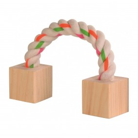 Trixie Baumwollspielseil mit Holzklötzchen für Nager 20cm