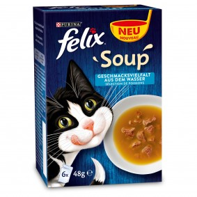 FELIX Soup Geschmacksvielfalt aus dem Wasser mit Kabeljau, Thunfisch, Scholle 6x48g