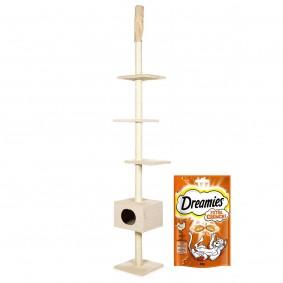 ZooRoyal Kratzbaum Tuva deckenhoch Beige + gratis Dreamies Katzensnack Extra Crunch mit Huhn 60g