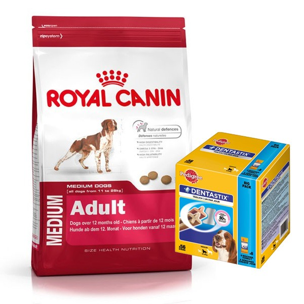 Royal Canin Medium Adult 2x15kg plus Pedigree DentaStix 56er Pack