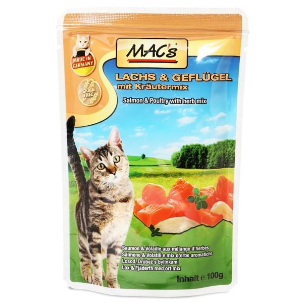 mac 39 s cat katzenfutter pouchpack lachs gefl gel und preiselbeeren. Black Bedroom Furniture Sets. Home Design Ideas