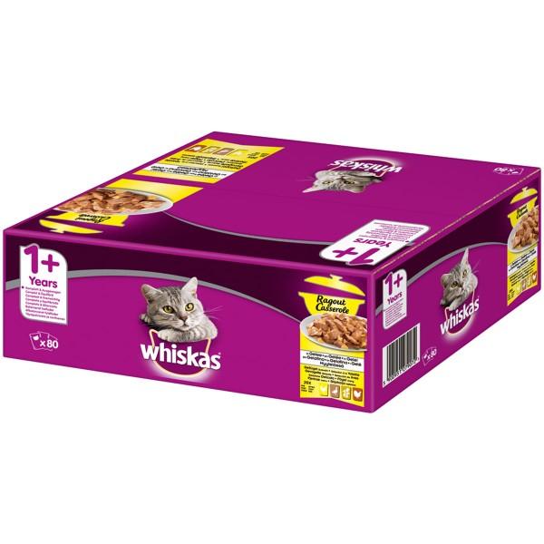 Whiskas Ragout Adult 1+ Geflügelauswahl in Gelee 80x85g