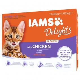Iams Delights Multipack Kitten Huhn in Sauce 12x85g