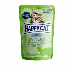 Happy Cat kapsičky – All Meat Adult telecí a jehněčí maso