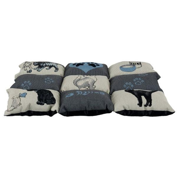 Trixie Decke Patchwork Cat - grau/hellblau