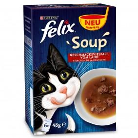 FELIX Soup Gesmischte Vielfalt mit Rind, Huhn, Thunfisch 6x48g