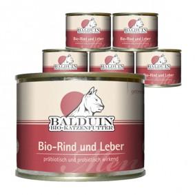 Balduin Katzenfutter Bio Menü Rind und Leber 6x200g
